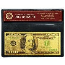 Цветные американские деньги 100 USD Золотая фольга Банкнота с пластиковым держателем для бумажного коллектора денег