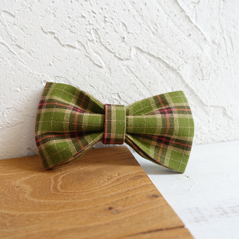 Green Plaid Dog Bowtie Pets Collar Accessory Puppy Cat Pet Supplies Grooming Tools Dogs Dismountable Ornamental Bow Ties