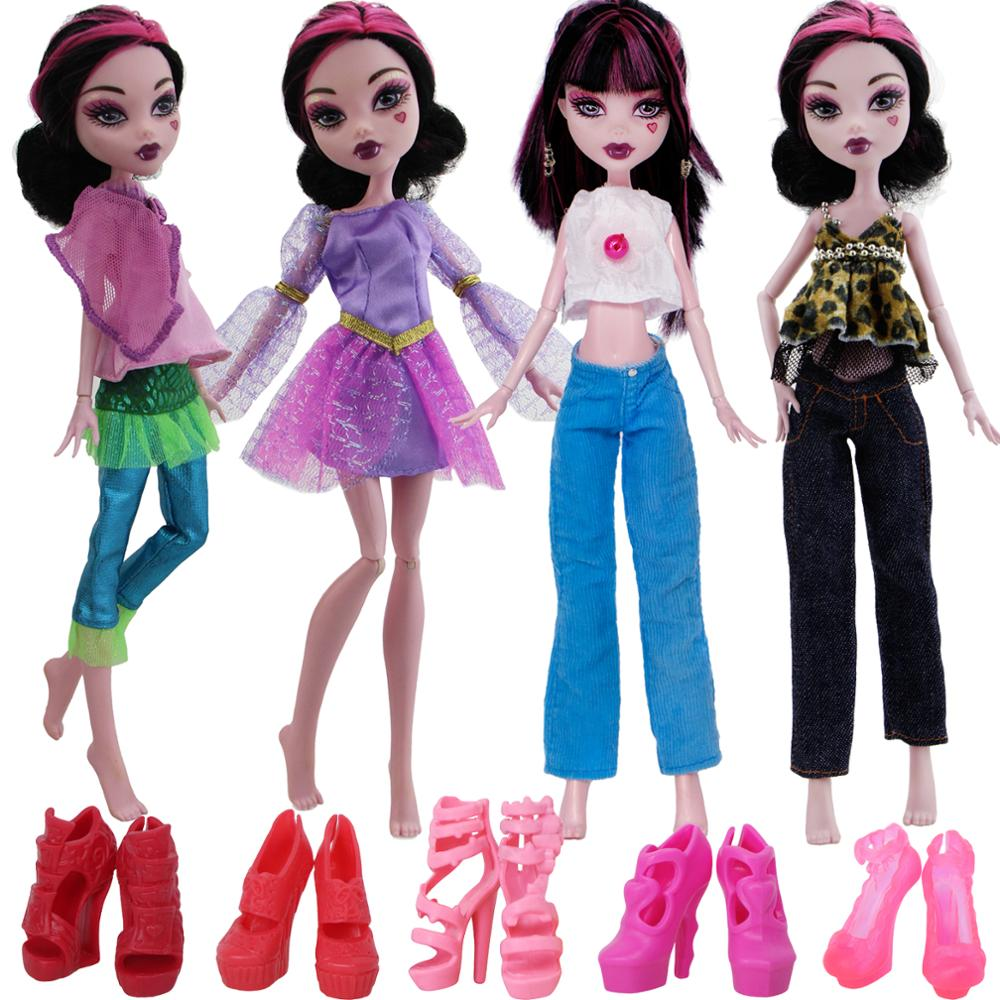 1 Set Dress Skirt Outfit Pants Jeans Trousers Daily Casual Wear High Heel Sandals Accessories Clothes For Monster High Doll Toy