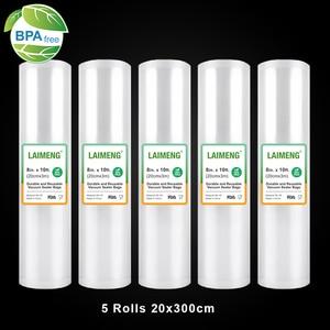 Image 1 - LAIMENG Вакуумные Упаковочные пакеты, 5 рулонов, 20*300 см, Sous Vide пакеты, вакуумные пакеты для хранения, BPA бесплатные вакуумные герметичные пакеты, сверхмощные R120