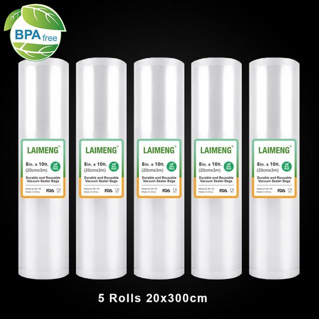 LAIMENG Вакуумные Упаковочные пакеты, 5 рулонов, 20*300 см, Sous Vide пакеты, вакуумные пакеты для хранения, BPA бесплатные вакуумные герметичные пакеты, сверхмощные R120
