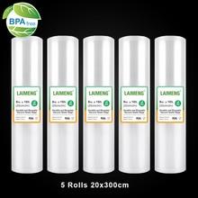 LAIMENG 真空シーラーバッグ 5 ロール 20*300 センチメートルスー Vide バッグ真空パッカー保存袋 BPA フリー真空シールバッグ大型 R120