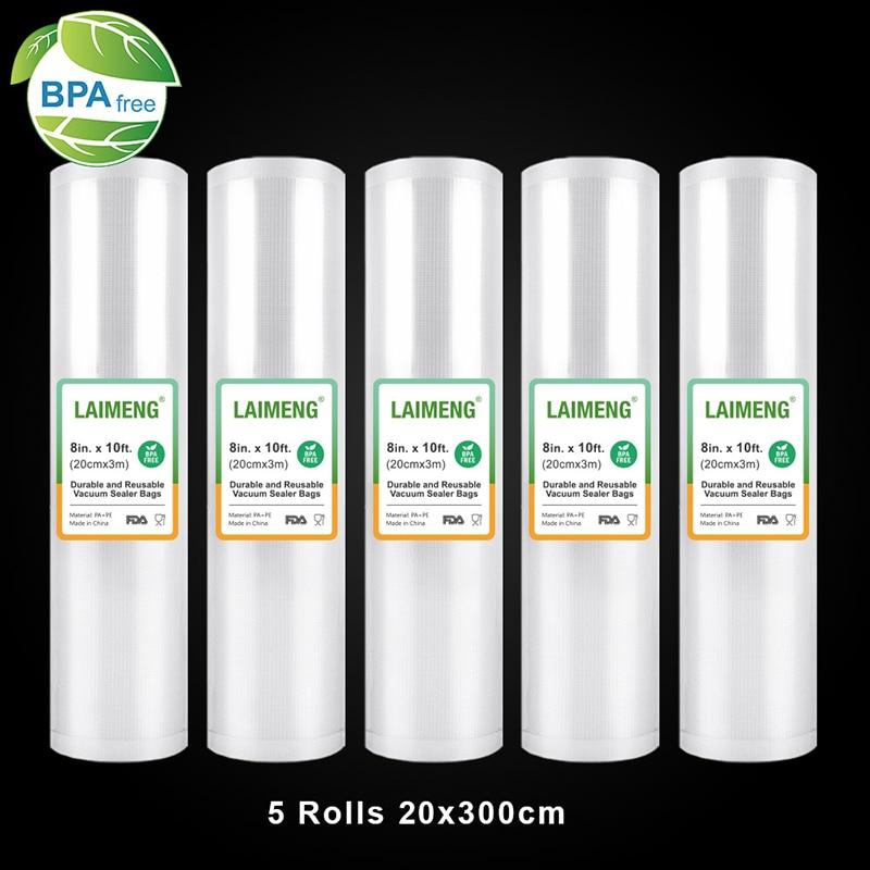 LAIMENG Vacuum Sealer Bags 5 Rolls 20*300cm Sous Vide Bags Vacuum Packer Storage Bags BPA Free Vacuum Seal Bags Heavy-Duty R120
