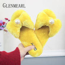 лучшая цена Women Slippers Winter Warm Home Shoes Butterfly Bead Indoor Slippers Slip On Solid Fur Female Flat Shoe Casual Shoes 2019 New DE