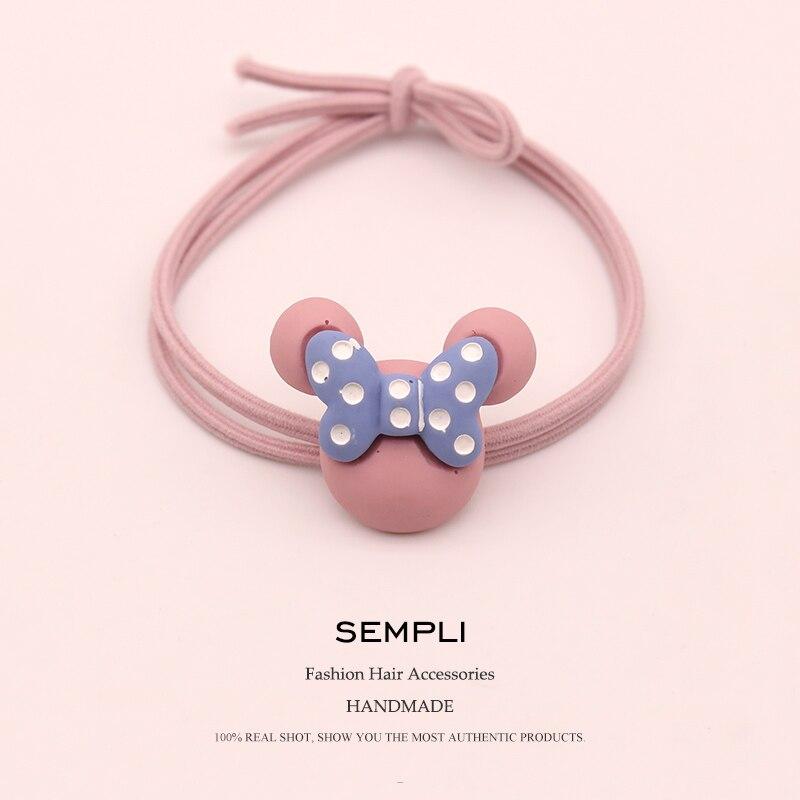 Sempli High Elasticity Nylon Mickey Minnie Head Heart For Women Elastic Hair Bands Cartoon Kid Children Rubber Bands Headwear