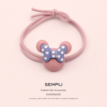 Sempli High Elasticity Nylon Mickey Minnie Head Heart For Women Elastic Hair Bands Cartoon Kid Children Rubber Headwear