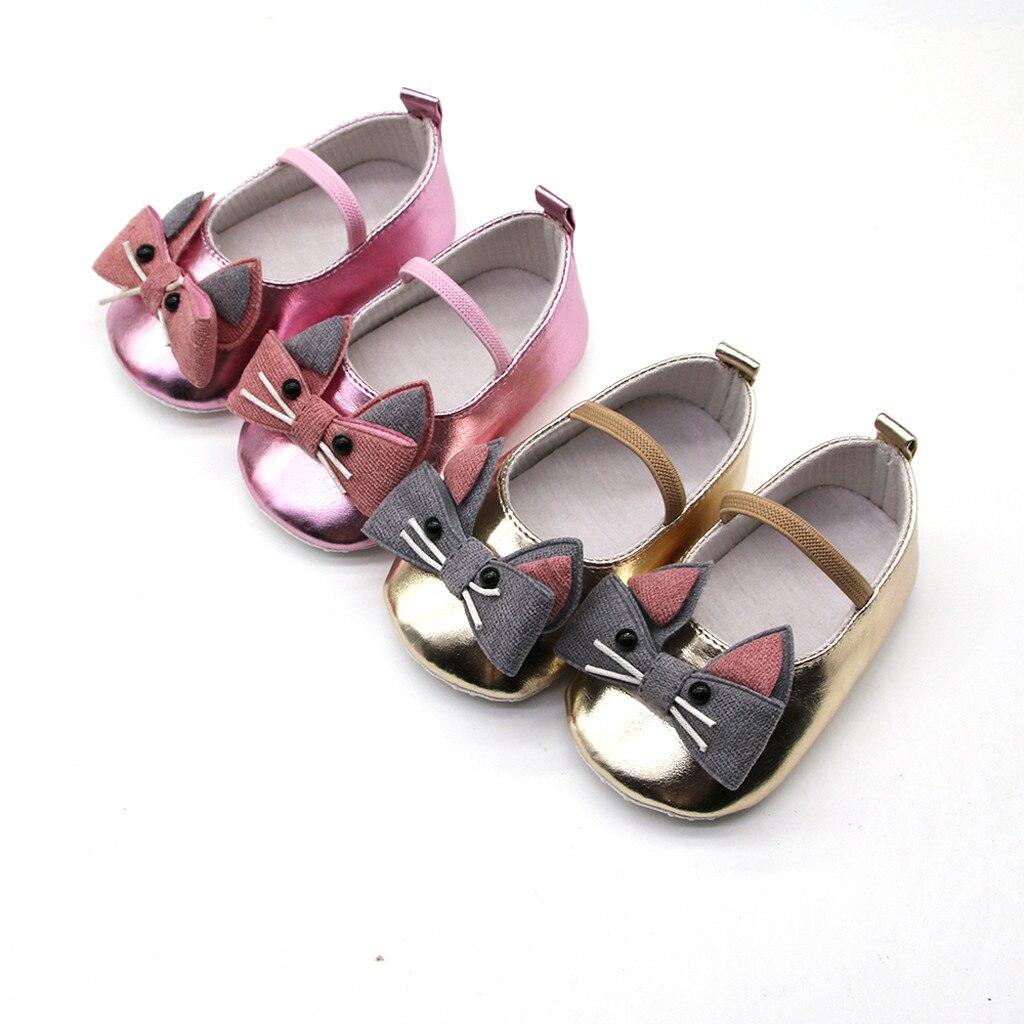 Newborn Baby Girls Kitten Leather Shoes Soft Sole Single Shoes Princess Shoes Muqgew(muqgew) For Baby Cute Funny Item Cat Shoe
