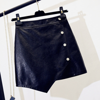 Fashion Irregular Small Leather Skirt Women Autumn Winter High Waist Slimming A line Pu Skirt Female Button Short Sexy Pu Skirts
