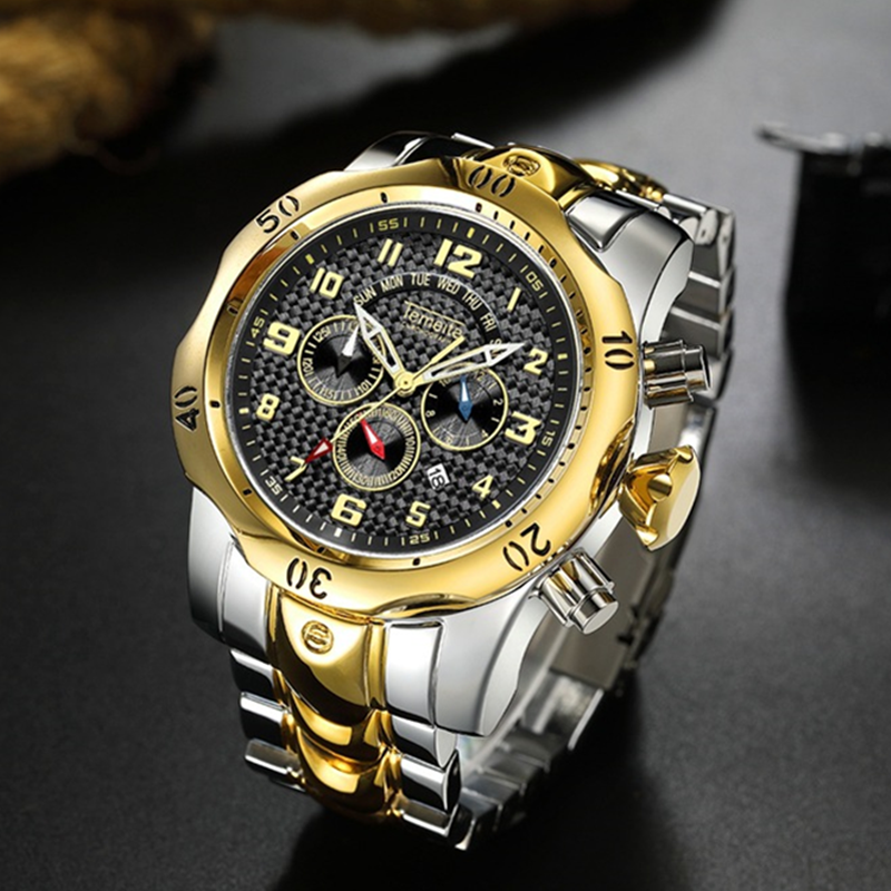 TEMEITE New Fashion Mens Watches Top Brand Luxury Big Dial Military Watch Full Steel Waterproof Sport Chronograph Watch Men