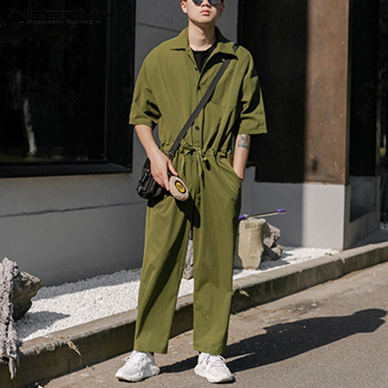 INCERUN Fashion Mens Cargo Overalls Half Sleeve Jumpsuits Joggers Solid Color Button Streetwear Casual Rompers Pants Men 2020