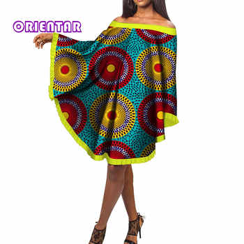 Fashion Bat Sleeve Dress Women African Print Bazin Riche Traditional African Clothing Cotton Slash Neck Short Dresses WY153 - DISCOUNT ITEM  24% OFF All Category