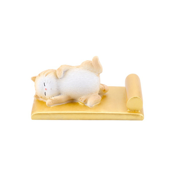 Lying Cat Phone Stand Gold White Cell Phone Holder Decoration for Home Office Desktop Smartphone Holder Bracket Stand
