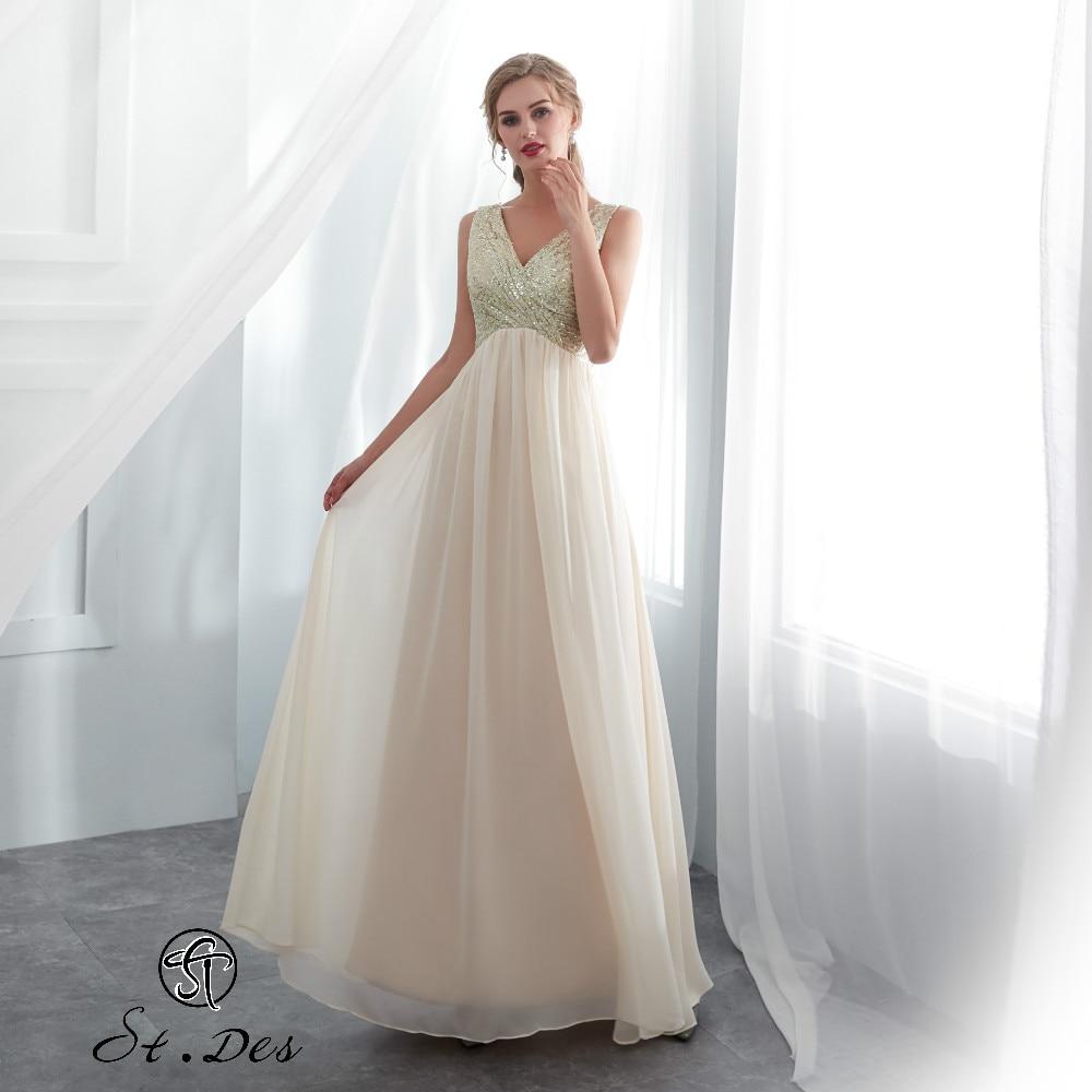 S.T.DES Evening Dress 2020 New Arrival A-line V-neck Ivory Sleeveless Designer Flower Length Party Dress Dinner Dress