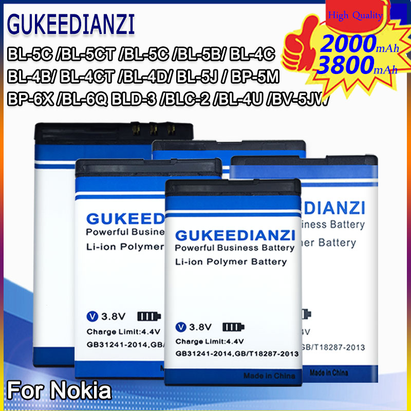 Mobile Battery For Nokia BL-4B BL-4D BL-4C BL-4CT BL-4U BL-5B BL-4UL BL-5C BL-5CT BL-5J BP-5M BP-6X BL-6Q BLC-2 BLD-3 Batteria(China)
