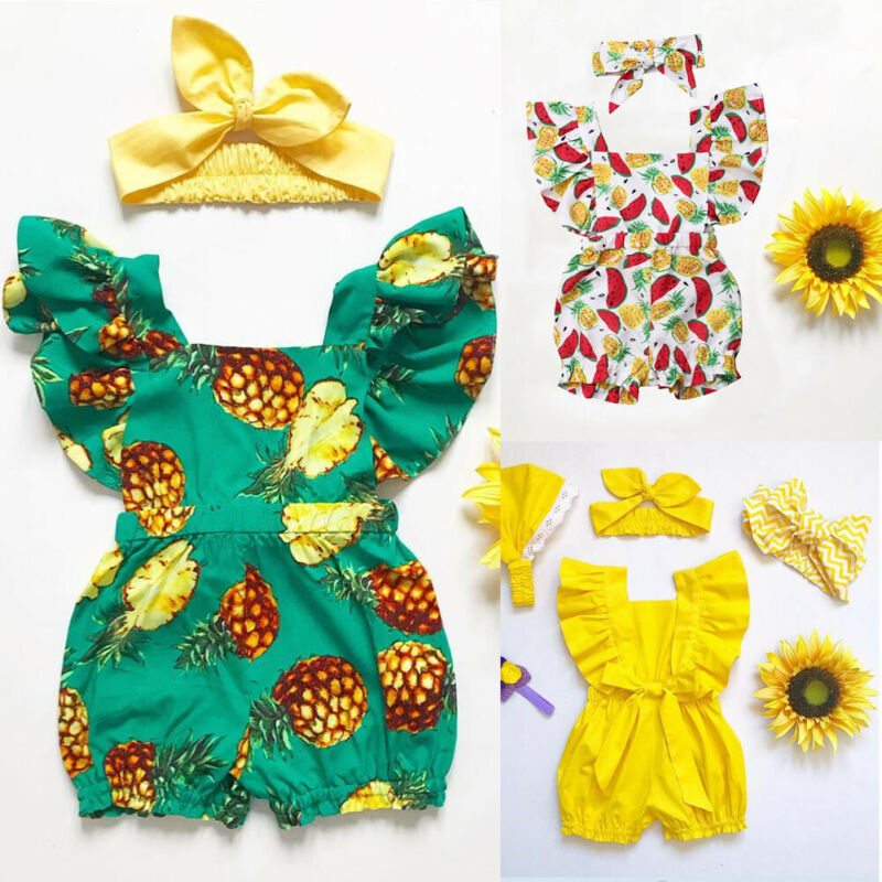 2PCS Cute Infant Baby Girl Jumpsuit Headband Clothes Outfit