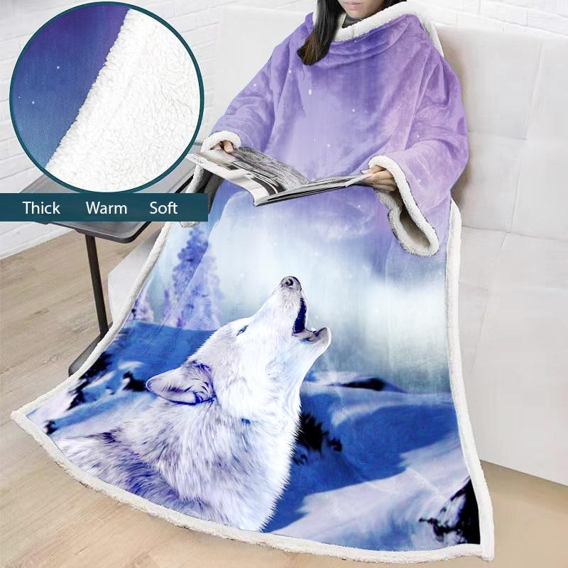 2019 automne nouvelle couverture chaude avec manchon adultes enfants loup Animal Sherpa polaire portable jeter couverture hiver microfibre couvertures