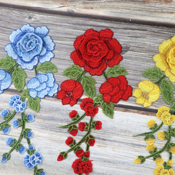 1pc Sewing On Patches Rose Flower Embroidered cloth stickers Fabric Patches Applique Supplies Chinese Style Patches Craft DIY 1 pairs organza embroidered wings lace embroidery patches diy lace collar neckline decorate sewing craft supplies patches white
