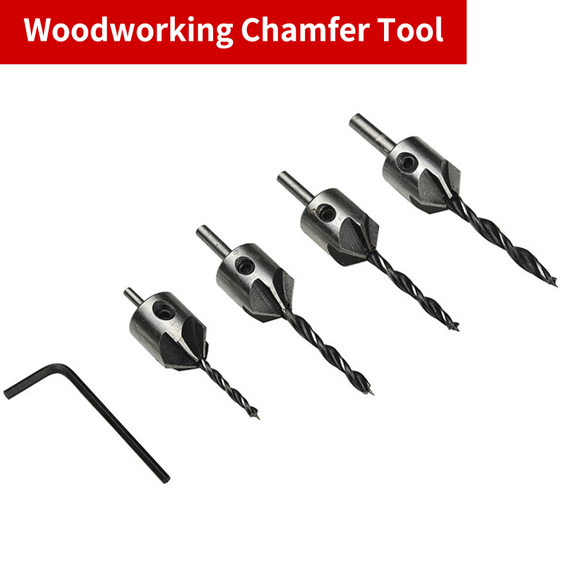 Countersink Drill Bit Pilot Drill Bits Set 5 Flute HSS Reamer Screw Hinge Hole Saw Chamfer 3mm 4mm 5mm 6mm 4pcs