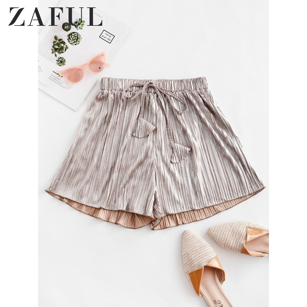 ZAFUL Pleated Metallic Loose Beach Shorts Champagne Gold Color Women Solid Ladies Bottoms Ruched Elastic High Waisted Shorts
