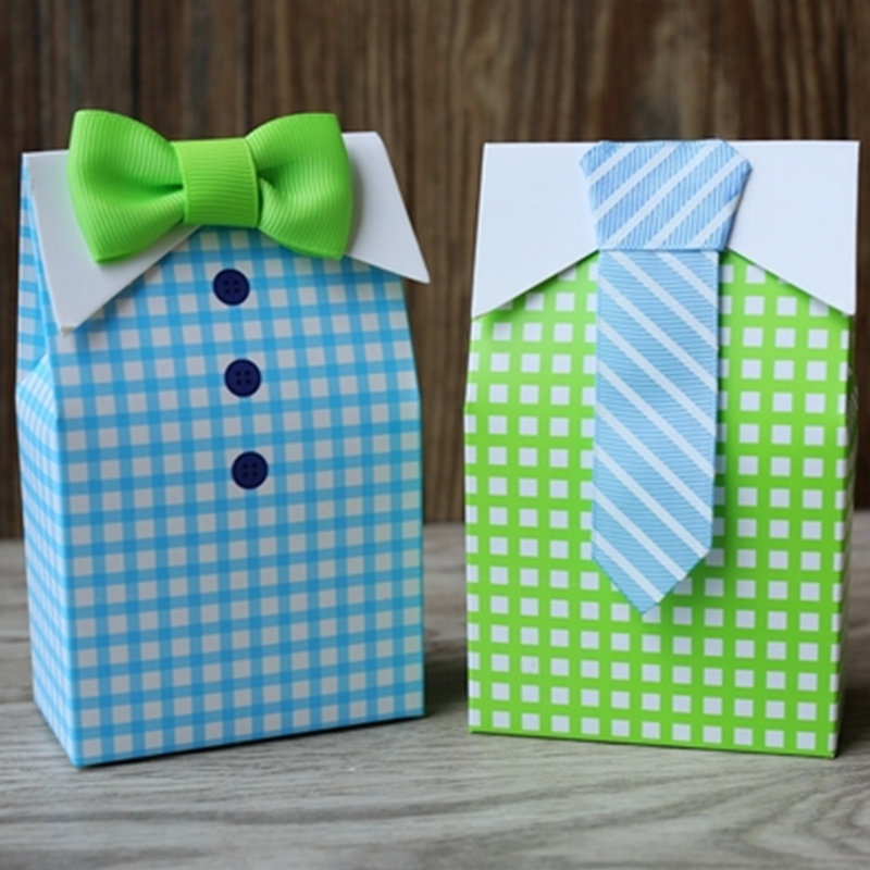 50pcs Personalized Bow Candy Box Blue Green Small Fresh Plaid Shirt Dress Candy Box Wedding Candy Gift Box Convenient Gift Bag