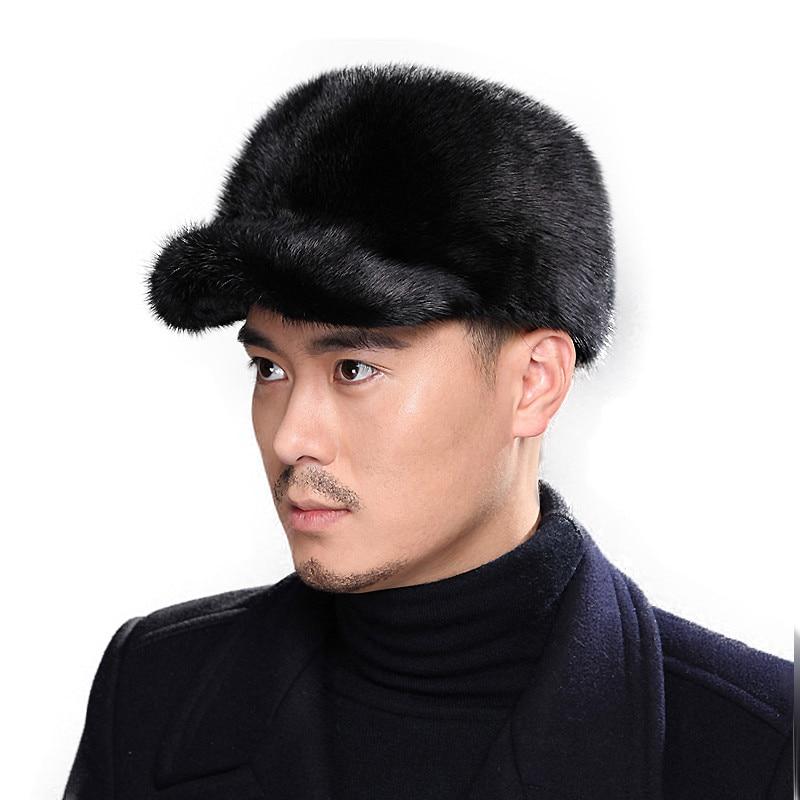 2019  Winter Fur Cap For Men  Mink  Fur Cap   Winter  Warm Christmas  Gift  Men's  Hat  Baseball  Cap