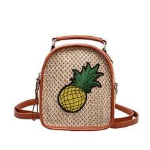 4PCS / LOT Women Mini Beach Bag Zipper Woven Straw Backpacks for Girls Boho Pineapple Pattern Travel Shoulder