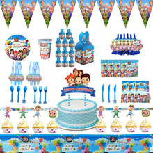 144pcs Cocomelons Birthday Party Supplies for Kids Party Decorations Included Paper Plates Cups Napkins Tablecloth Banner