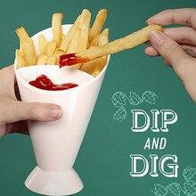 Домашний кухонный инструмент для картофеля посуда 2 в 1 французский конус для картошки фри с чаша для макания
