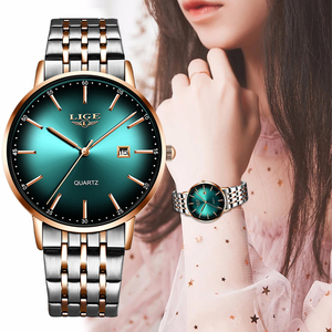 2020 LIGE Luxury Ladies Watch Women Waterproof Rose Gold Steel Strap Women Wristwatch Top Brand Bracelet Clocks Relogio Feminino