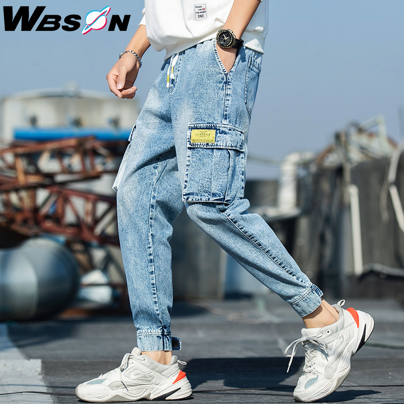 Wbson Men's Harajuku Multi-pocket Denim Pants Hip Hop Cargo Pants Streetwear Male Cargo Denim Trousers Men Casual  Pants YYXK32