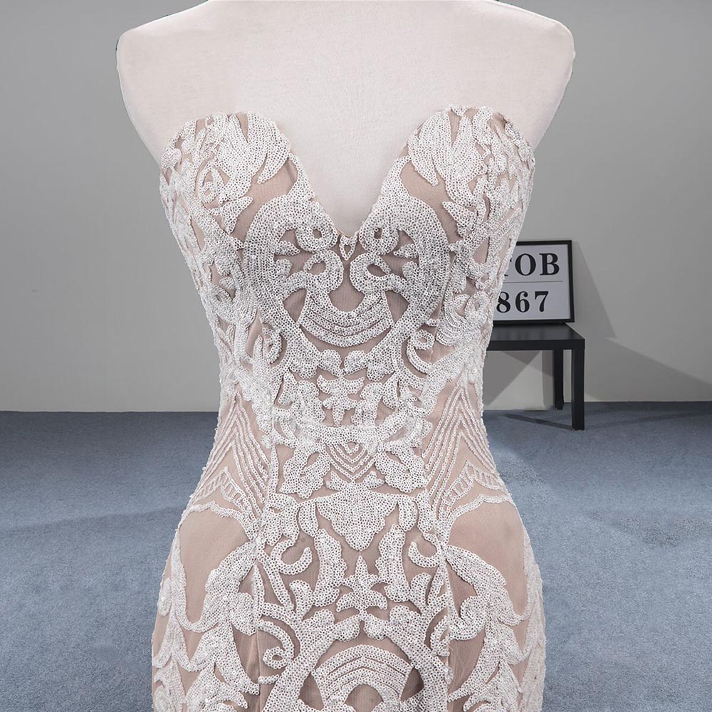 Image 5 - MTOB Newest Lace Mermaid Wedding Dress Applique Deep Sweetheart Backless Champagne Bridal GownsWedding Dresses   -