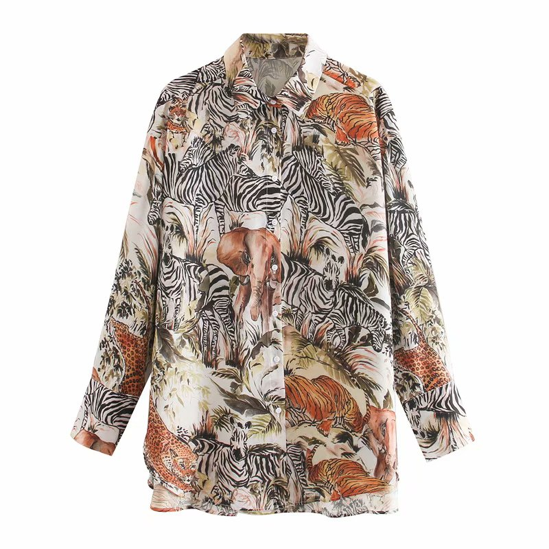 2020 New Women Vintage Animal Leaves Print Casual Loose Smock Blouse Long Sleeve Long Shirts Chic Chemise Femininas Tops LS6521
