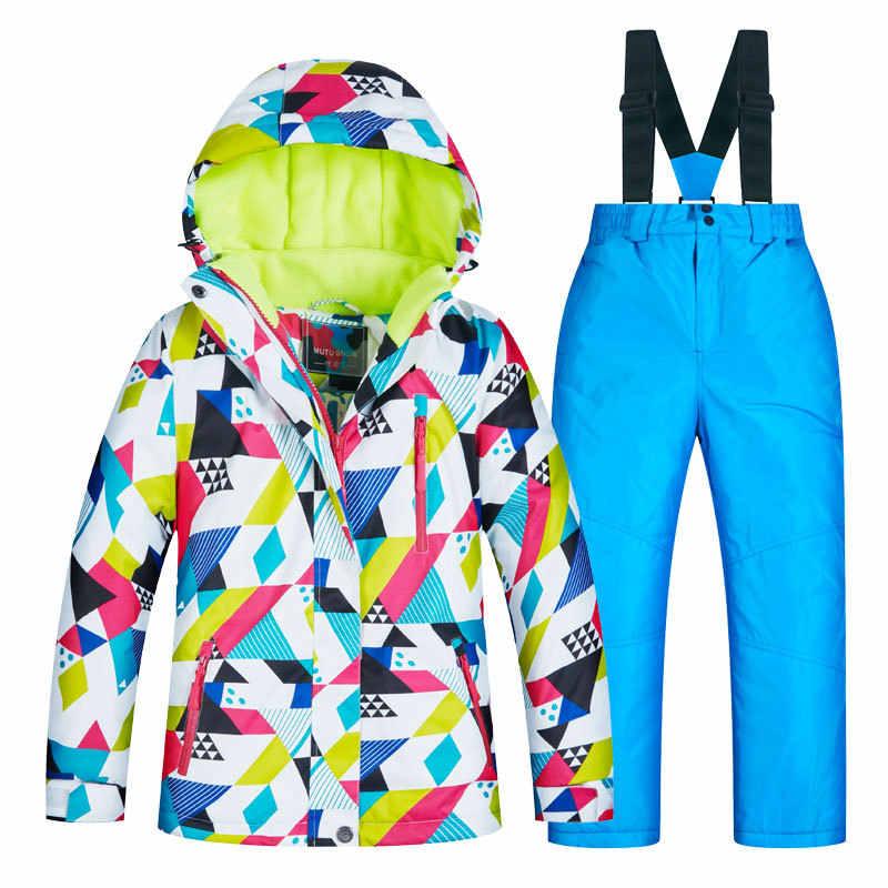 Лыжный костюм для девочек и мальчиков зимняя ветрозащитная Водонепроницаемая