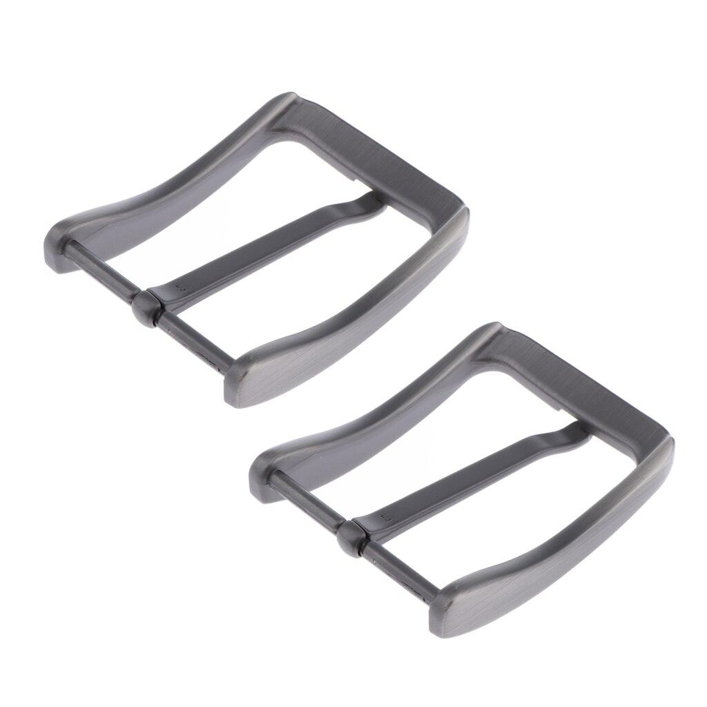 2xMens Metal Antique Belt Buckles Single Prong Rectangular Pin Buckles