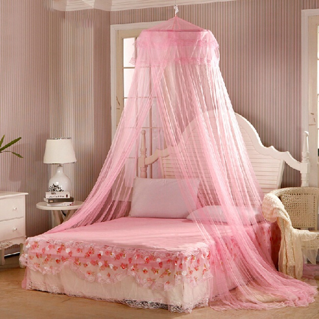 Elegant Lace Bed Canopy Mosquito Net 2020 Hung Dome Mesh Canopy Princess Round Dome Bedding Net Bed Mosquito Netting Hot Sale