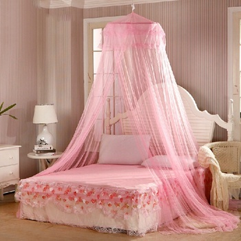 Elegant Lace Bed Canopy Mosquito Net 2020 Hung Dome Mesh Canopy Princess Round Dome Bedding Net Bed Mosquito Netting Hot Sale недорого