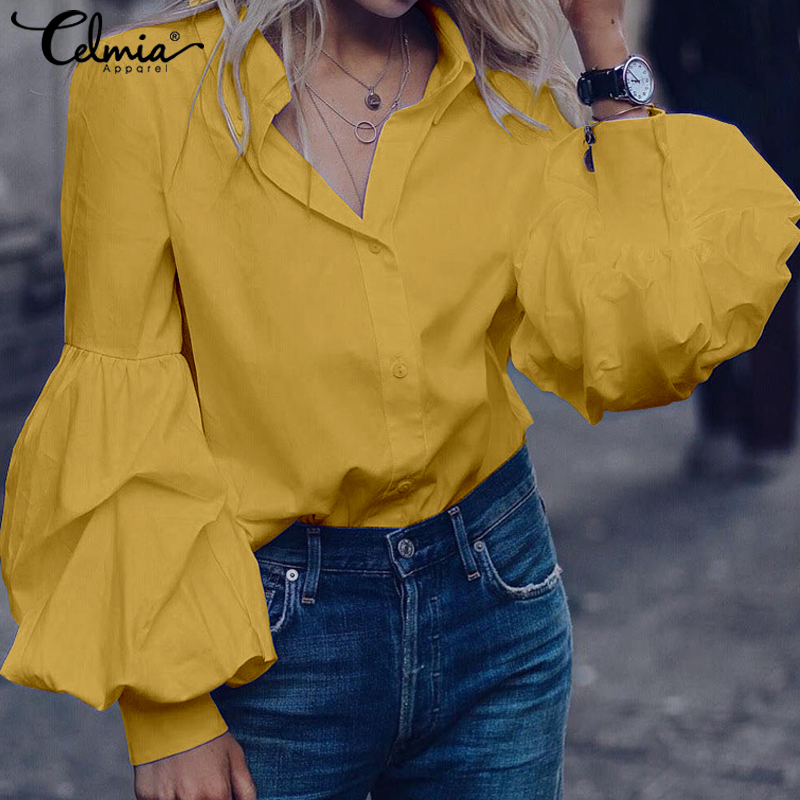Top Fashion 2019 Celmia Women Long Puff Sleeve Blouses Shirts Lapel Buttons Casual Loose Solid Party Tops Work Blusas Plus Size