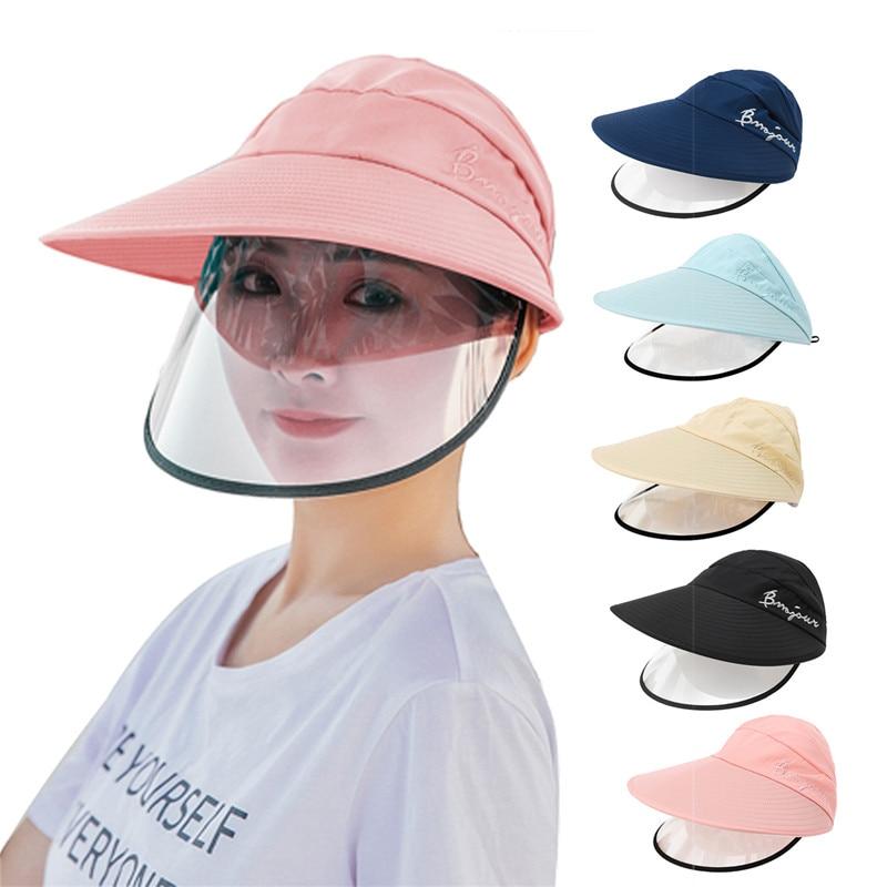 Jovivi Summer Sun Hat Polyster Women Clear UV Protection Sun Cap Band Summer Beach Caps face sheild safe protection Hats 1x(China)