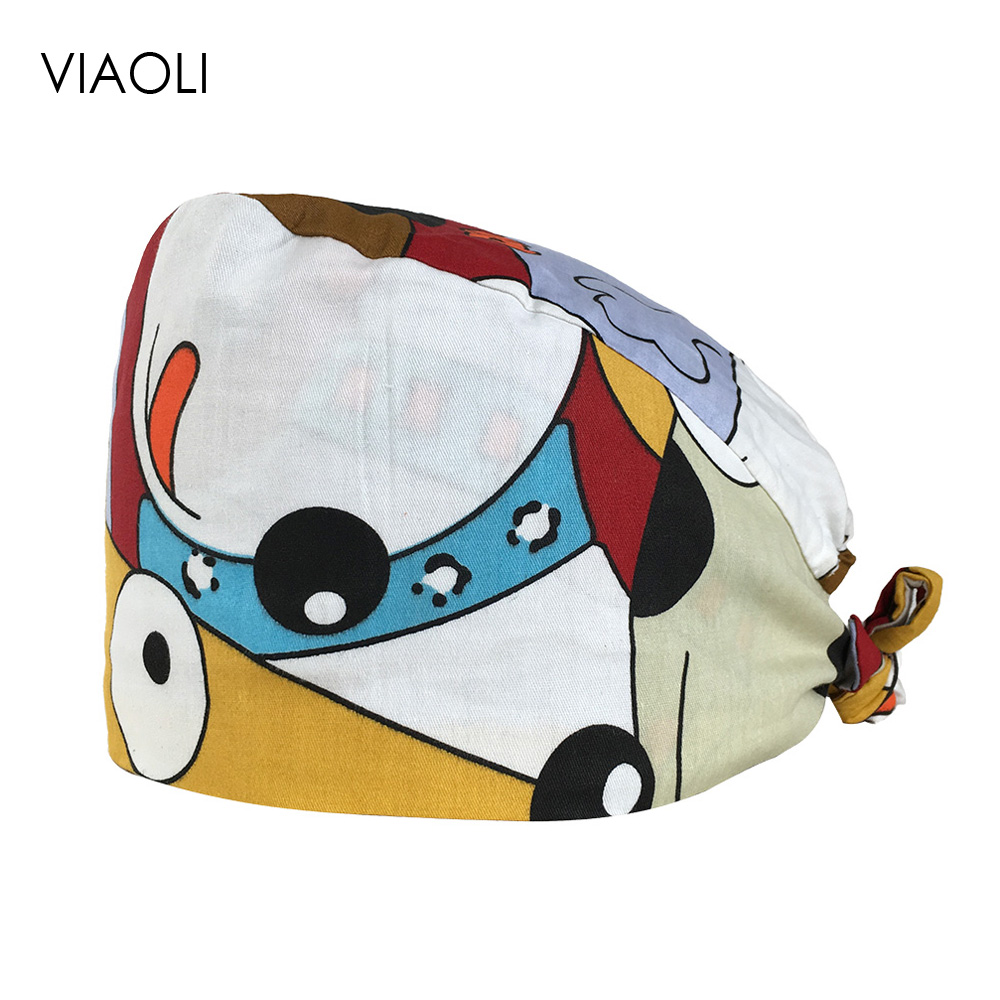 Surgical Caps Female Cartoon Print Cotton Operating Room Hat Korean Doctor Nurse Cap Anesthesiologist Beauty Medical Working Cap