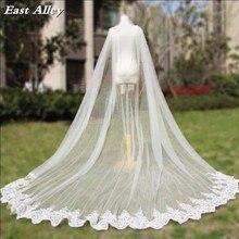 Cathedral ความยาวงานแต่งงาน Cape Veil เจ้าสาวเสื้อคลุมลูกไม้ยาวเจ้าสาวอุปกรณ์เสริม Manto