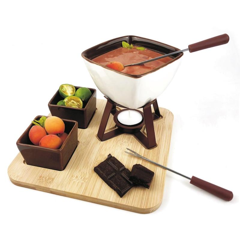 Us 40 0 Fondue Pot Set Glazed Ceramic Fondue Set For Chocolate Fondue Or Cheese Fondue Perfect Gift Idea For Housewarming Or Birthday In Fondue