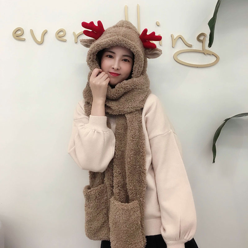 3 In 1 Women Winter Warm Soft Plus Velet Scarf Snood Pocket Hats Gloves Fashion Hooded Srarves Scarf Hat Glove 3 Piece Sets