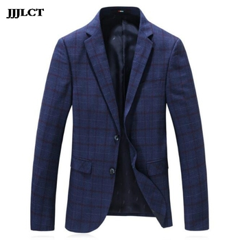 European and American style new men's plaid fashion suit casual slim lapel single western jacket