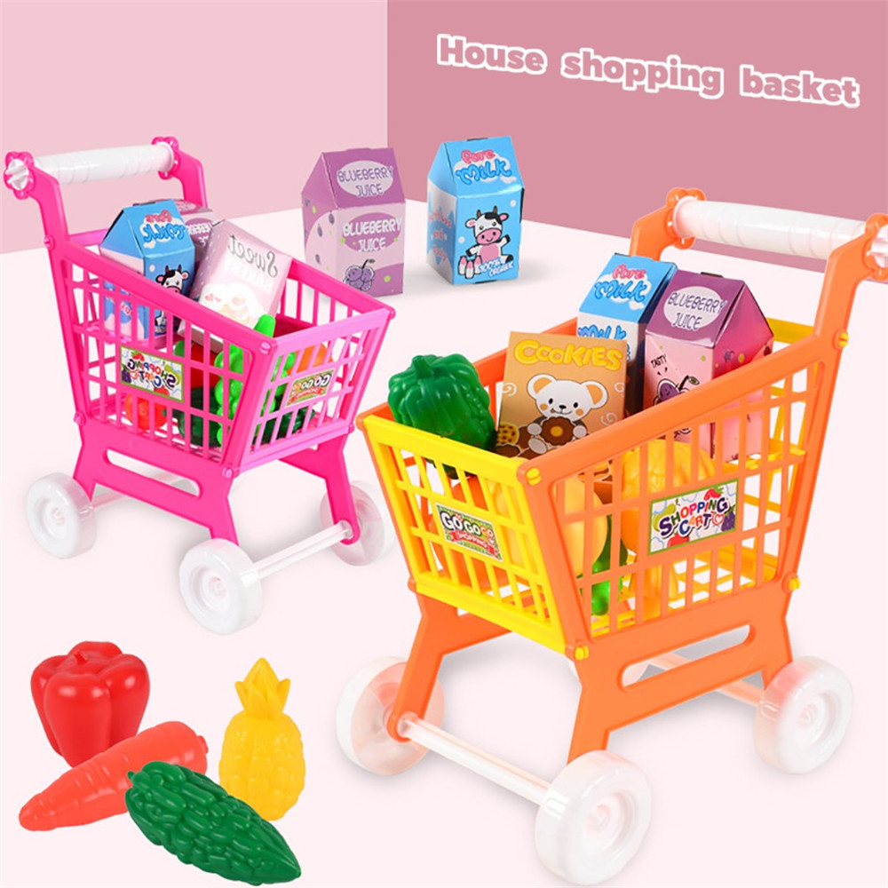 Pretend Shopping Cart Toy Set Kids Supermarket Shopping Groceries Cart Trolley Toys Fruits Pretend Baby Toy Kids Educational Toy
