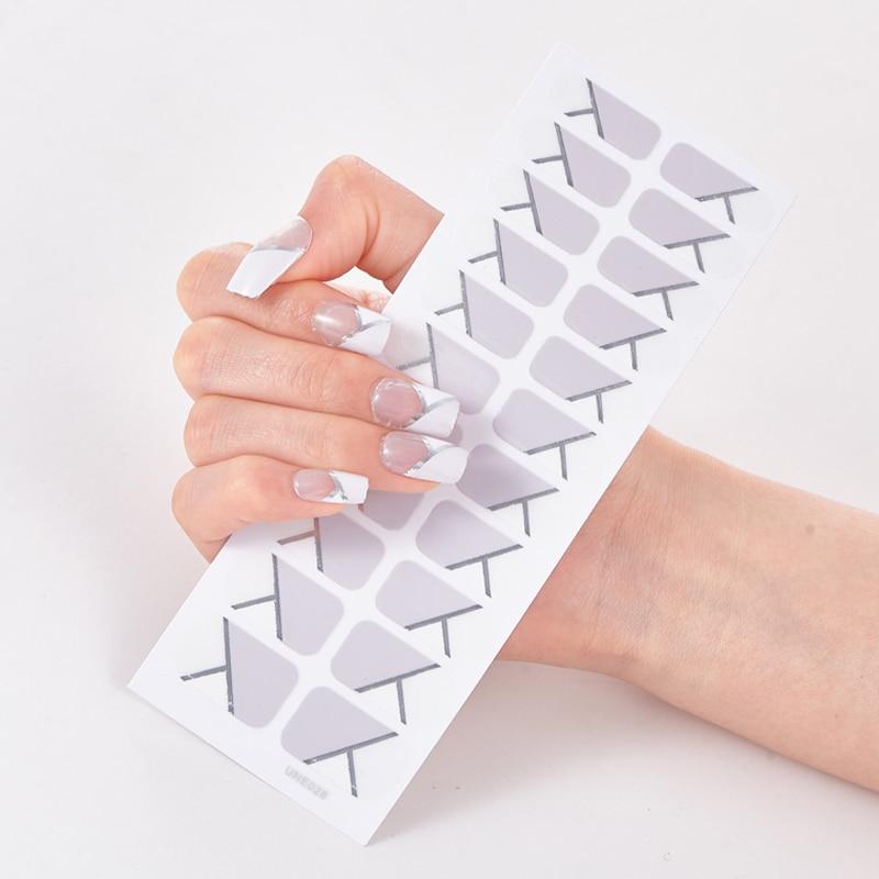 22 dicas/folha cor sólida e listrado manicure designer decalques do prego nailart adesivo completo beleza fita do prego manicure auto adesivo