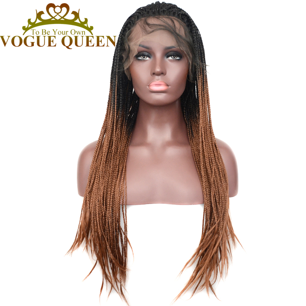 Vogue Queen T30 Braided Synthetic Lace Front Wig Two Tone Ombre Braided Heat Resistant Fiber For Women