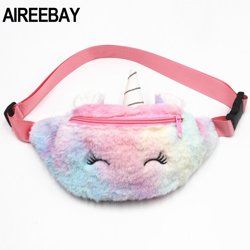 AIREEBAY Cute Unicorn Female Waist Bag Kids Fanny Pack Cartoon Plush Women Belt Bag Fashion Girls Travel Phone Pouch Chest Bag