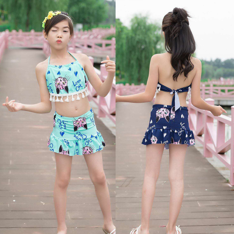 5-12-Year-Old KID'S Swimwear Girls Big Boy Split Type Two-Piece Set Students Cute Cartoon Cat GIRL'S Swimwear New Style