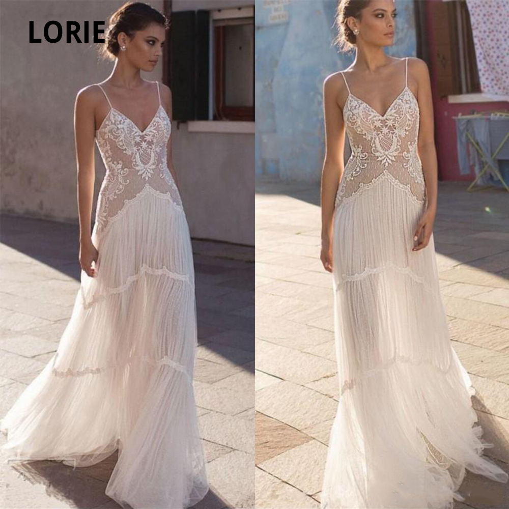 LORIE Bohemia Wedding Dresses Lace 2020 V-neck Spaghetti Straps Sleeveless Soft Tulle Beach Bridal Gown Vintage Marriage Gowns