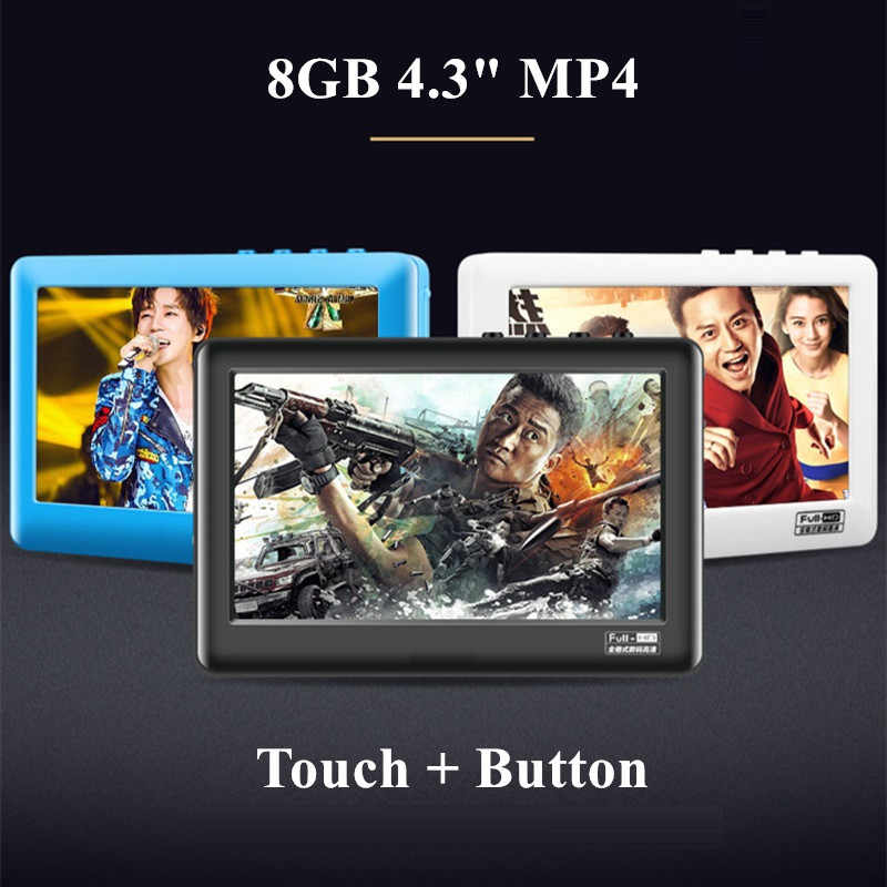 HIFI MP4 Music Player Touch Screen 8GB MP5 Player With Speaker Av Out Game Console 4.3 MP4 Recorder Mini Video Player